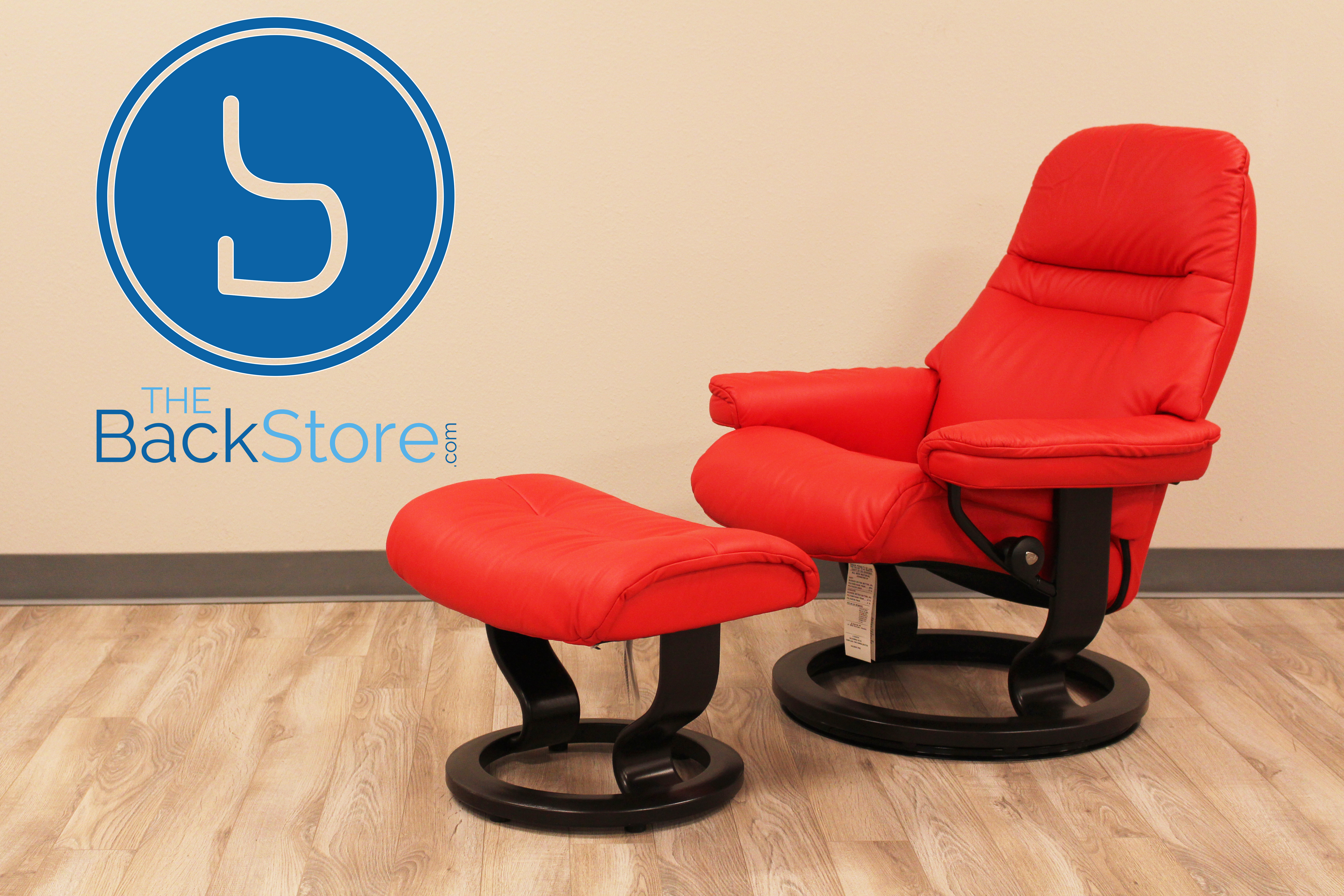 Stressless Sunrise Paloma Tomato Color Leather Recliner Chair And Ottoman