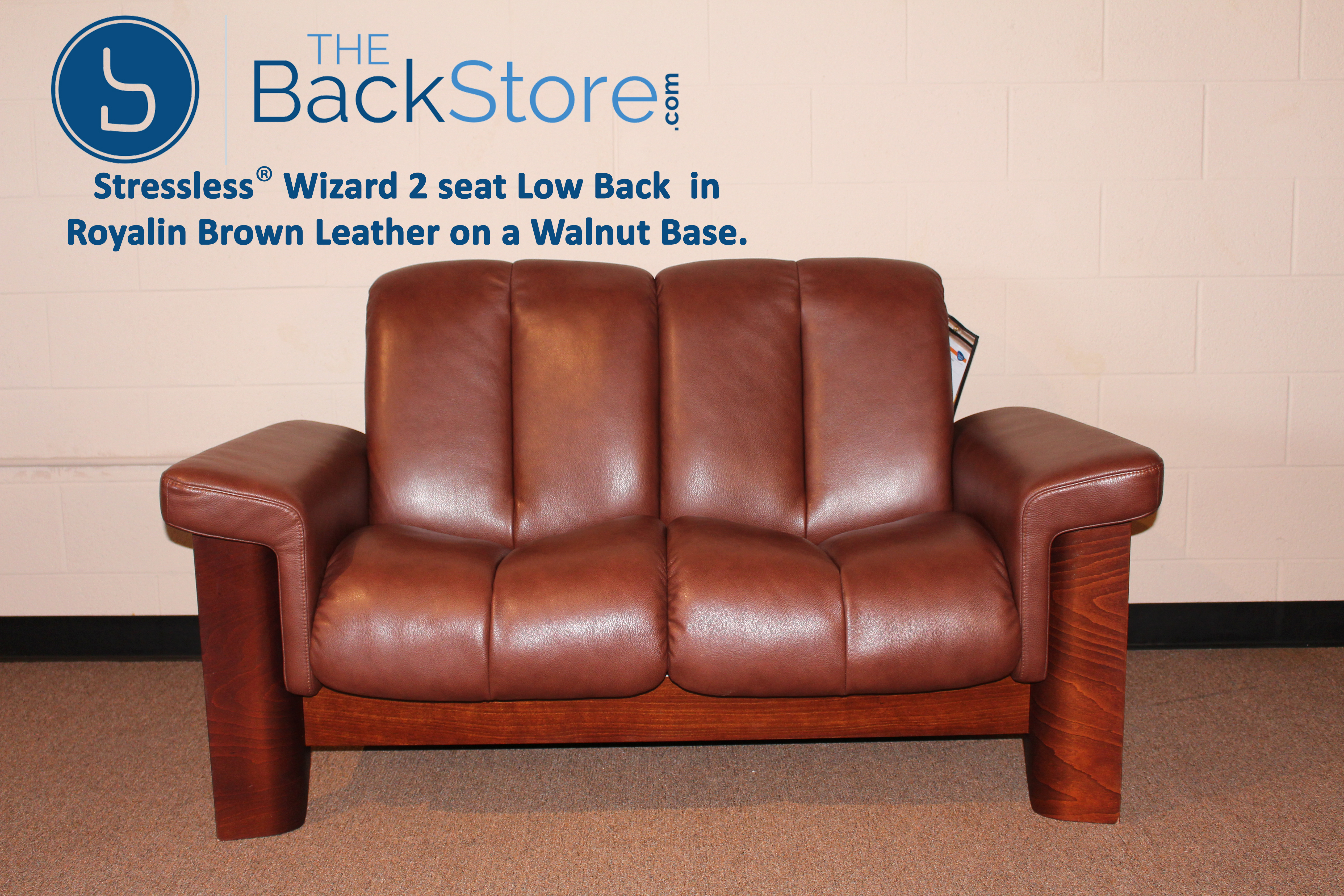 Stressless Wizard 2 Seat Low Back Loveseat Royalin Brown Color Leather by  Ekornes