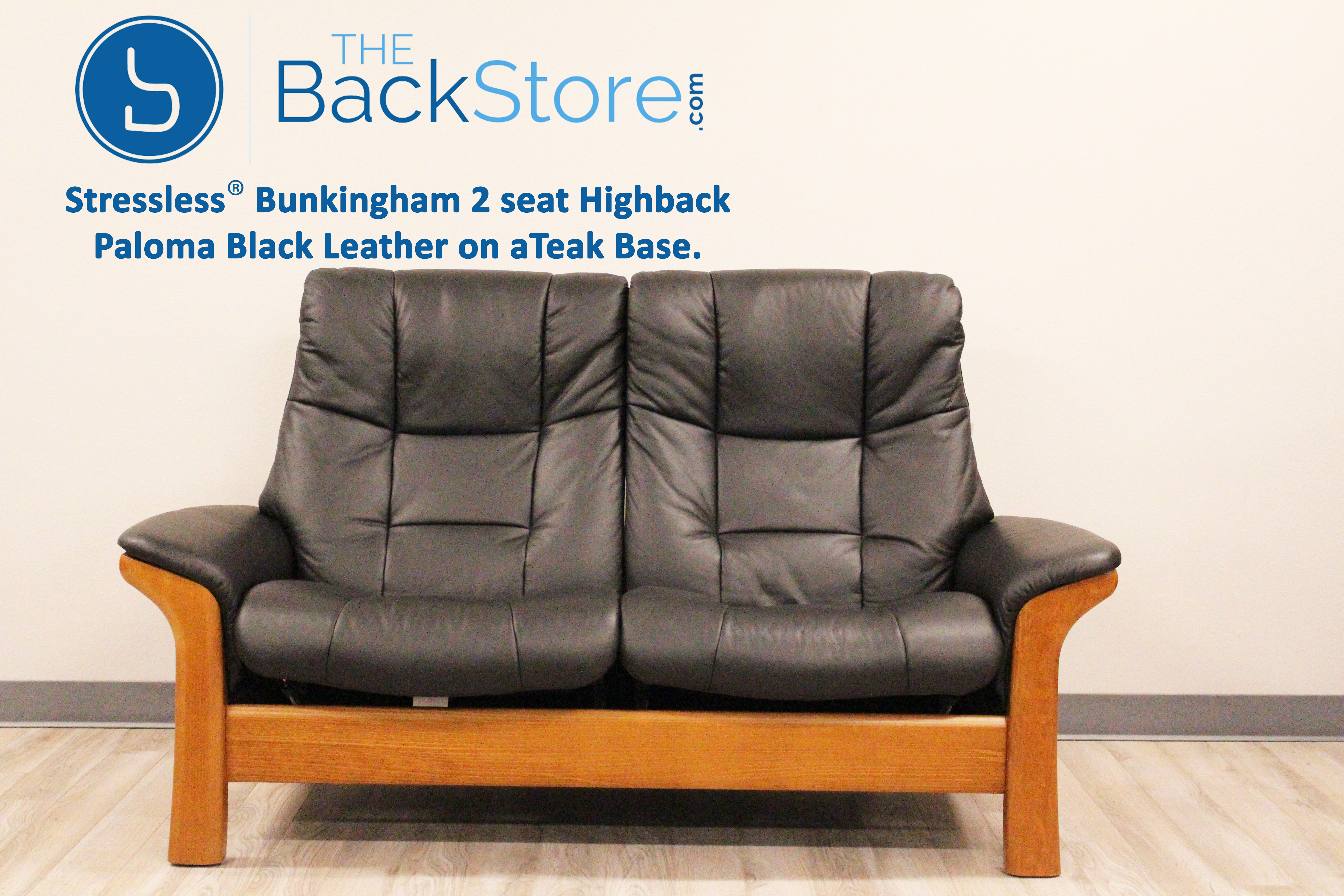 Stressless Buckingham 2 Seat Loveseat High Back Sofa Paloma Black Color  Leather by Ekornes