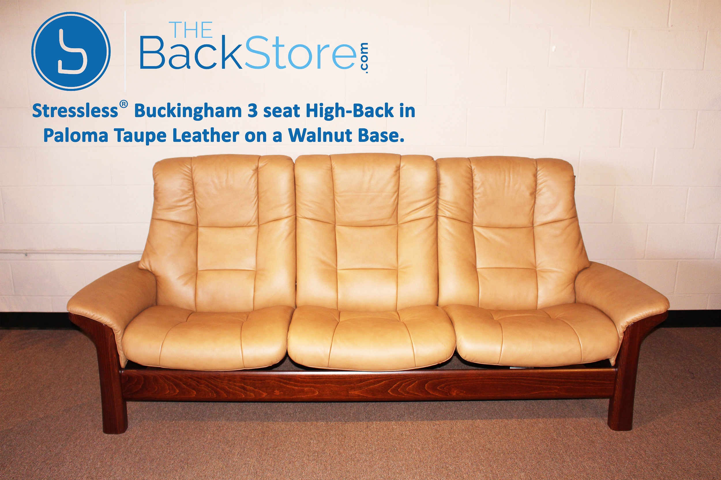 Awe Inspiring Stressless Buckingham 3 Seat High Back Sofa Paloma Taupe Color Leather By Ekornes Pdpeps Interior Chair Design Pdpepsorg