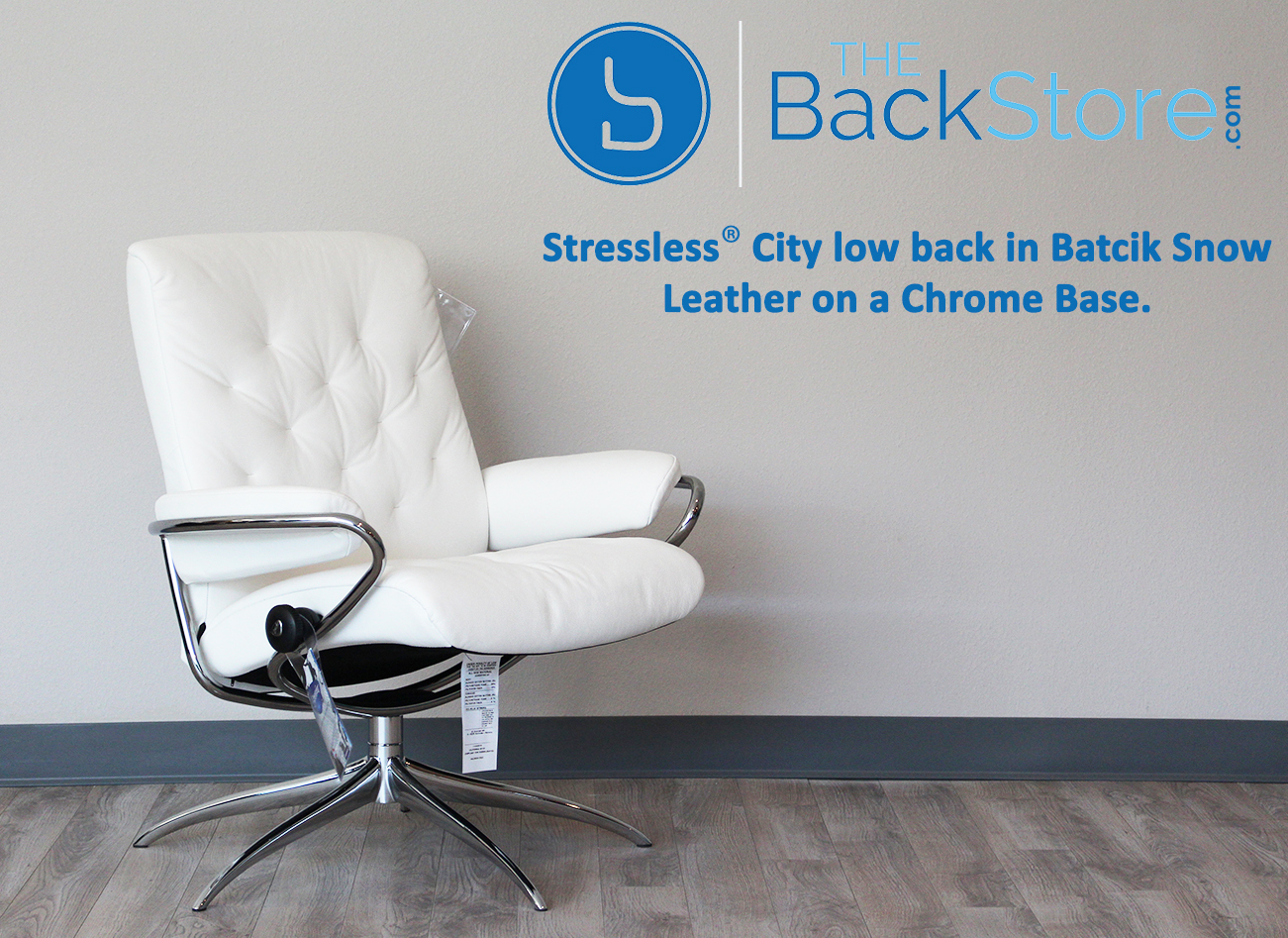 stressless city low back batick snow chrome base leather recliner