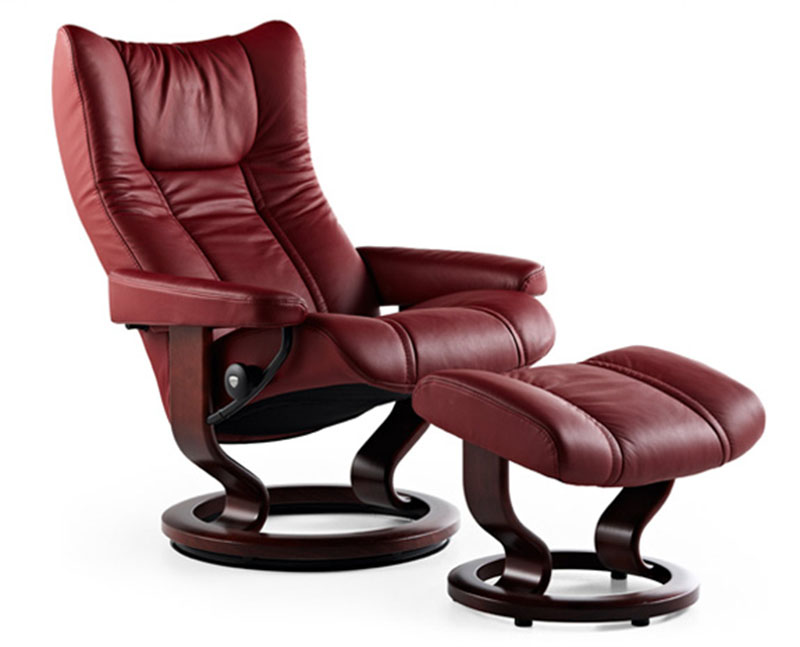 Stressless Wing Recliner Chair And Ottoman By Ekornes