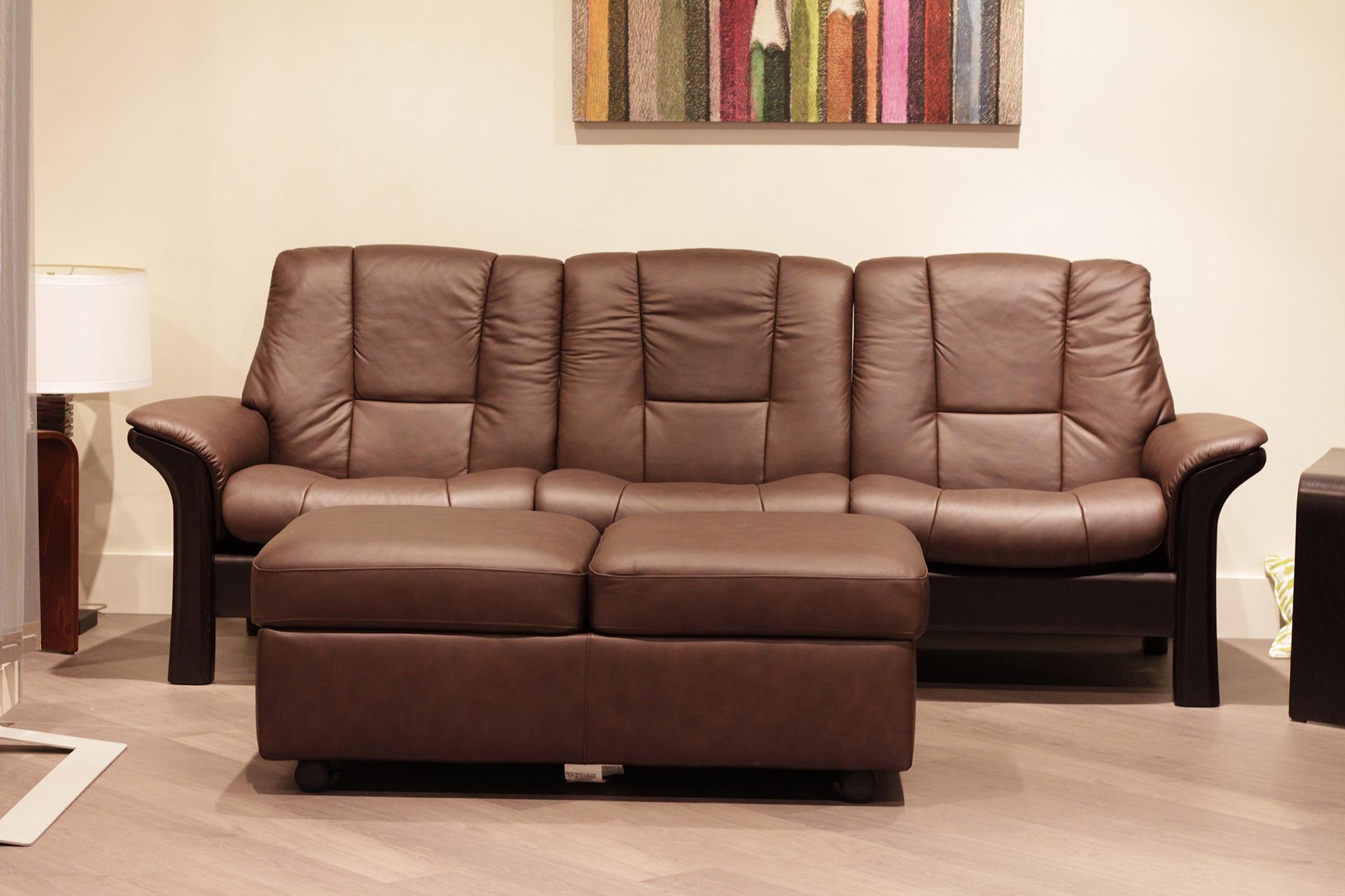 Stressless Buckingham 3 Seat Low Back Sofa Paloma Chocolate Leather