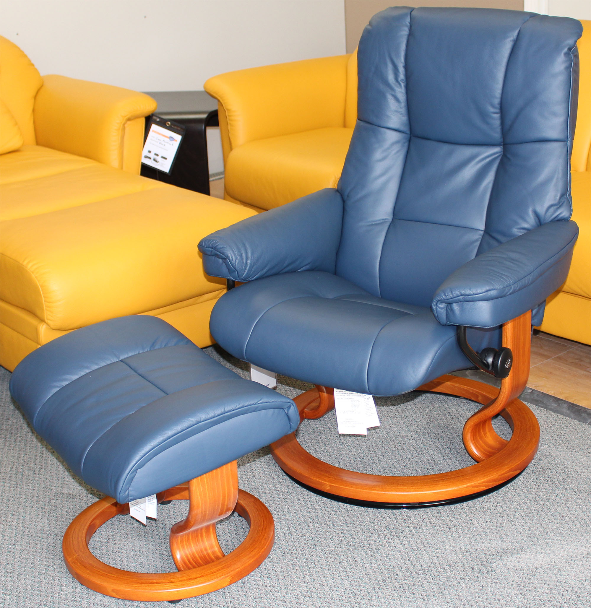 stressless mayfair paloma oxford blue leather recliner chair and