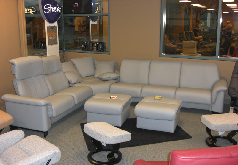 Stressless Paloma Pearl Grey 09405 Leather Paradise Sectional From Ekornes