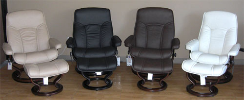 Lovely Stressless Governor Recliner And Ottoman In Brandy Red, Sand, Black,  Chocolate, Light